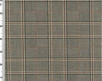 Camel/Black Glen Plaid Poly Suiting, Fabric By The Yard