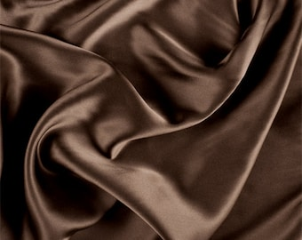 Olive Brown Silk Charmeuse, Fabric By The Yard