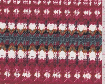 Soft Red Multi Print Crepe de Chine, Fabric By The Yard