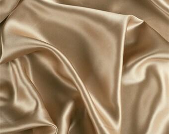 Camel Stretch Silk Charmeuse, Fabric By The Yard