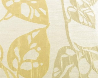 Beige Leaf Matelasse Home Decorating Fabric, Fabric By The Yard