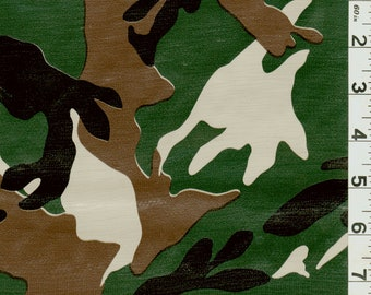 Green Camo Oilcloth, Fabric By The Yard