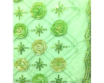 Mint Green Floral Organza Mesh, Fabric By The Yard
