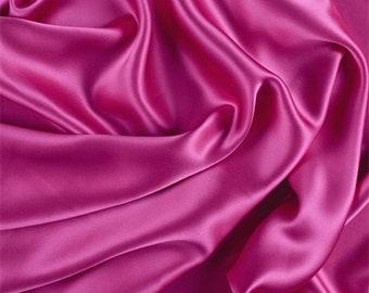 Fuschia Stretch Silk Charmeuse, Fabric By The Yard