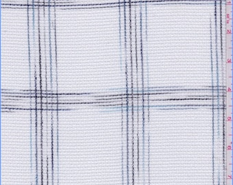 White/Blue/Black Check Macrame Lace, Fabric By The Yard
