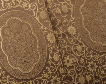Umber Brown Antique Silk Jacquard Home Decorating Fabric, Fabric By The Yard