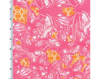 Pink/Orange Tina Givens Garden Room Carne Print Cotton, Fabric By The Yard
