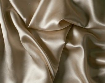 Beige Silk Charmeuse, Fabric By The Yard