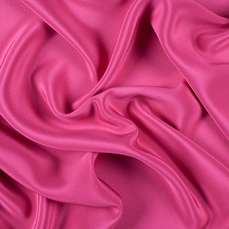 45 Wide 100/% Silk 4 Ply Crepe Fuschia Pink by the yard 7000M152