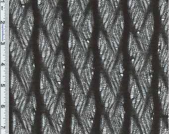 Black Delicate Feather Crochet Knit, Fabric By The Yard