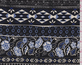 Black/Cobalt Floral Stripe Georgette, Fabric By The Yard