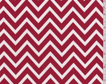Lipstick Red Chevron Poplin, Fabric By The Yard