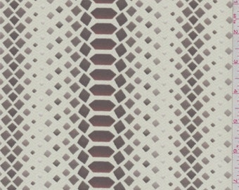 Buff/Khaki Diamond Print Crepe de Chine, Fabric By The Yard
