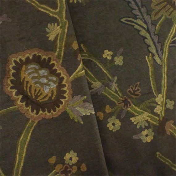 Brown/Multi Floral Print Suede Home Decorating Fabric, Fabric By The Yard