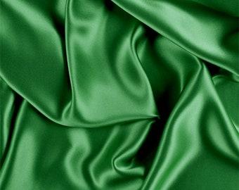 Green Stretch Silk Charmeuse, Fabric By The Yard