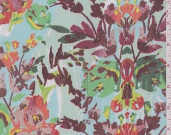 Soft Blue Multi Floral Chiffon, Fabric By The Yard