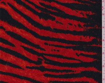 Fire Orange Zebra Stripe Velour, Fabric By The Yard