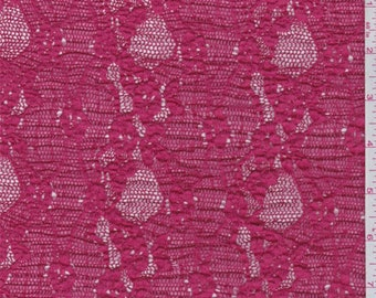Berry Pink Stretch Lace, Fabric By The Yard