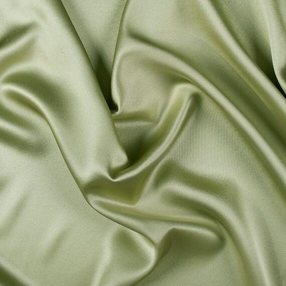 "45"" large 100 % soie crêpe dos Satin céleri vert par l'yard (8000M 137)"