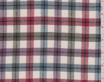 Ivory Plaid Suiting, Fabric By The Yard