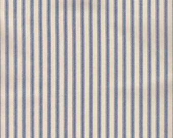 """54"""" Blue/Ivory Cotton Duck Ticking Fabric-20 Yards Wholesale By the Bolt (HD118-C1)"""