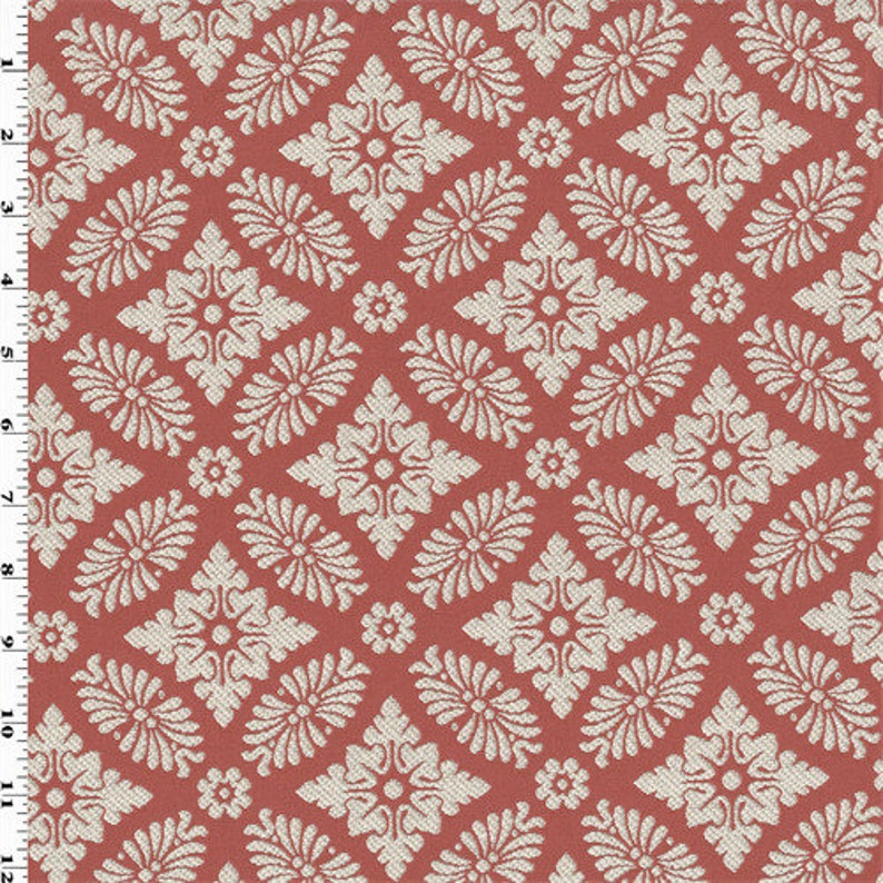 Fabric By The Yard Coral PinkIvory Double Jacquard Home Decorating Fabric