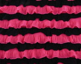 Hot Pink/Black Striped Ruffle Knit, Fabric By The Yard