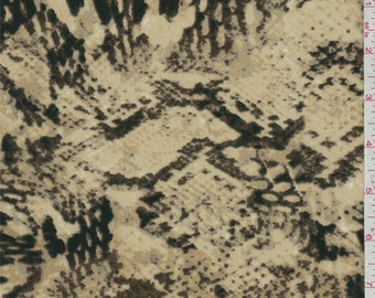 Gold/Brown Snakeskin Print Crepe de Chine, Fabric By The Yard