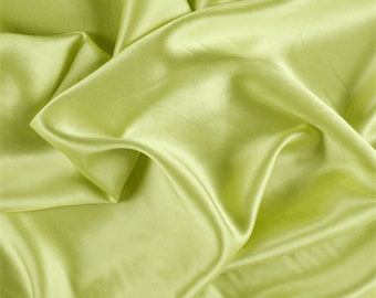 Light Lime Stretch Silk Charmeuse, Fabric By The Yard