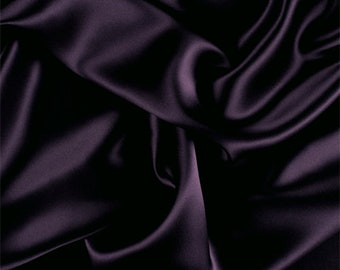 Aubergine Stretch Silk Charmeuse, Fabric By The Yard