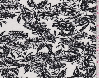 White/Black Daisy Print Rayon Jersey Knit, Fabric By The Yard