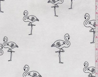 White/Black Flamingo Double Brushed Jersey Knit, Fabric By The Yard