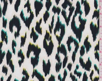 White/Black/Green Animal Print Crepe, Fabric By The Yard