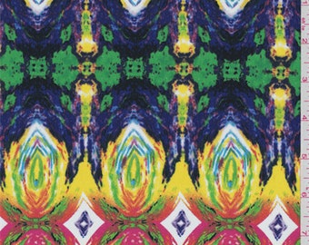 Yellow Rainbow Medallion Print Crepe De Chine, Fabric By The Yard