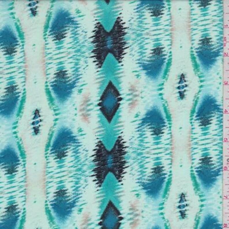 MintTurquoise Ikat Diamond Stripe Rayon Challis Fabric By The Yard