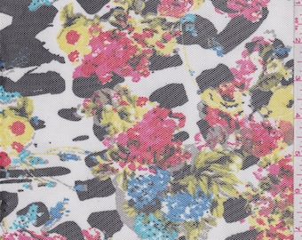 White Multi Animal Print Floral Stretch Mesh, Fabric By The Yard