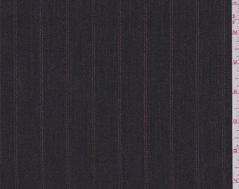 Dark Charcoal Stripe Suiting, Fabric By The Yard