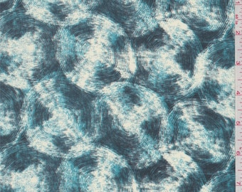 Teal Green/Ivory Circle Print Crepe de Chine, Fabric By The Yard
