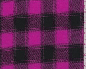 Hot Pink/Black Plaid Flannel, Fabric By The Yard