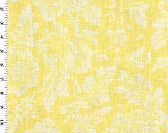 Yellow Floral Print Vintage Linen Home Decorating Fabric, Fabric By The Yard