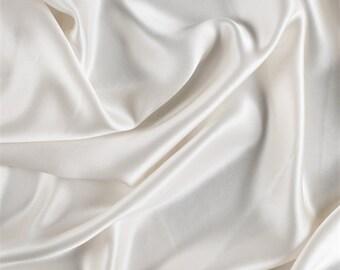 Eggshell Stretch Silk Charmeuse, Fabric By The Yard
