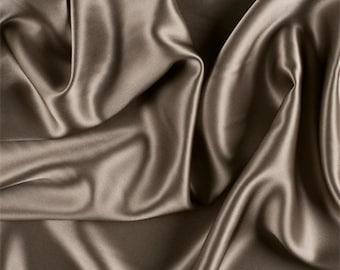 Taupe Silk Charmeuse, Fabric By The Yard