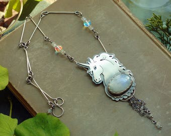 unicorn & moonstone pendant in sterling silver