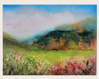 """Watercolor painting, Scenic Landscape, Original Painting, Watercolor Landscape, """"A Cool Day In Summer"""",  Field Painting"""
