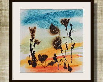"""Abstract Watercolor, """"Into The Weeds"""" Series, Watercolor Painting,  Original Painting, Weeds #2"""