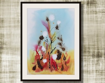 """Original Abstract Watercolor, """"Into The Weeds"""" Series, Watercolor Painting,  Original Painting, Weeds #6"""