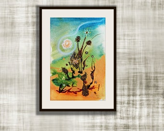 """Original Abstract Watercolor, """"Into The Weeds"""" Series, Watercolor Painting,  Original Painting, Weeds #4"""
