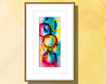 """Original Abstract Watercolor, Watercolor Painting,  Original Painting, Colorful, """"Connections 4"""" Vertical Abstract"""