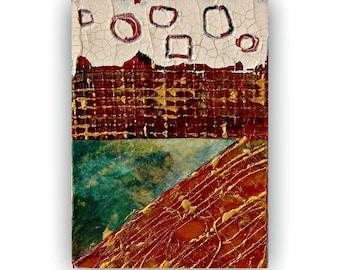 Original Modern Abstract  Mixed Media ACEO art card Small Mini Art Rustic Geometric Art
