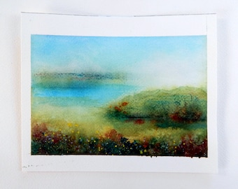 Watercolor painting,  Morning Mist, Marshland Painting, Coastal Painting, Original Painting with Mat, Watercolor Landscape